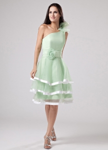 Apple Green Ruffled Layeres Prom Dress One Shoulder Hand Flowers