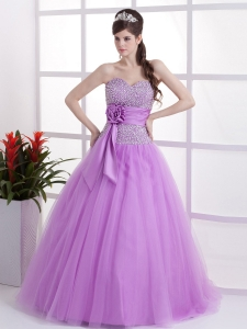 Lavender Sweetheart Prom Dress Hand Made Flower Beaded Decorate