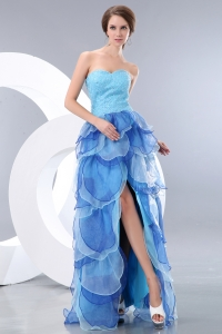 Blue Empire Sweetheart High-low Beading Prom / Evening Dress