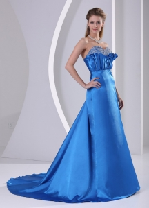 Sweetheart Beaded Prom / Evening Dress With Court Train Satin