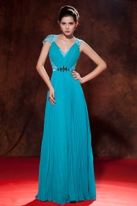 Teal Empire V-neck Chiffon Beading and Pleat Prom Dress