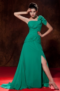 One Shoulder Brush Train Turquoise Empire Chiffon Ruch Prom Dress
