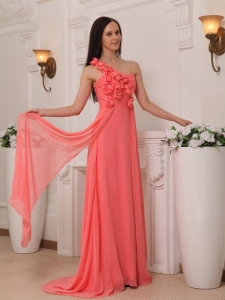 Watermelon Empire One Shoulder Hand Flowers Prom / Pageant Dress