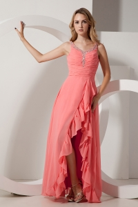 Watermelon Red Empire V-neck Chiffon Beading Prom Dress