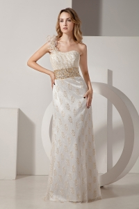 One Shoulder White Taffeta and Lace Beading Column Prom Dress
