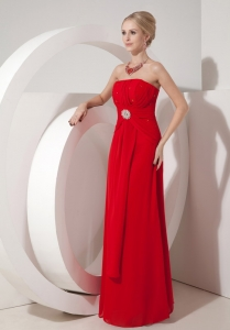 Strapless Column Red Chiffon Beading Prom Dress Dress