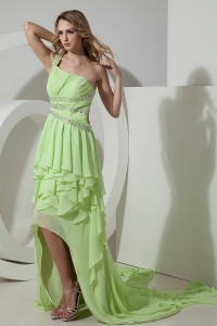 One Shoulder High-low Yellow Green Column Chiffon Prom Dress