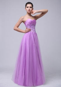 Beaded Decorate and Ruch Sweetheart Lavender Prom Dress With Tulle