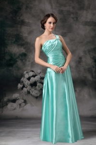 Turquoise Empire One Shoulder Beading Prom / Evening Dress