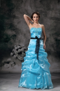 A-line Aqua Blue Organza Appliques Prom / Evening Dress