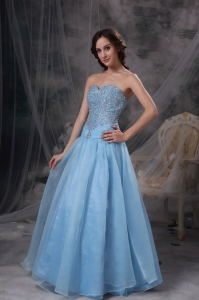 Baby Blue A-line Sweetheart Organza Beading Prom Dress