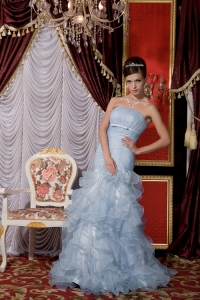 Mermaid Baby Blue Organza Belt and Ruffles Prom / Evening Dress