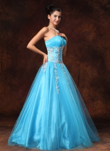 Sweetheart Baby Blue Appliques Graduation Custom Made Prom Gown