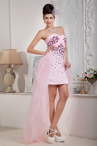 Baby Pink Column Sweetheart High-low Organza Beading Prom Dress