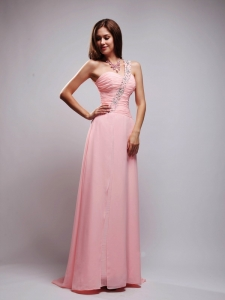 Baby Pink Empire One Shoulder Chiffon Beading and Ruch Prom Dress