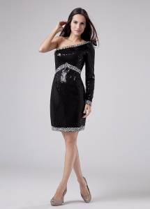 Beaded Decorate Sequins Mini-length One Shoulder Prom Dress Black