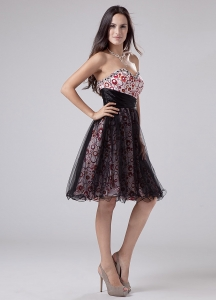 Beading A-Line Knee-length Print and Tulle Sweetheart Prom Dress