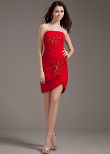 Beading Decorate Bodice Strapless Red Chiffon 2013 Prom Dress