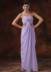 Beading Lilac Empire Beading Chiffon Sweetheart Prom Dress