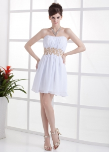 Beading and Ruching Decorate Bodice Mini-length Prom Dress