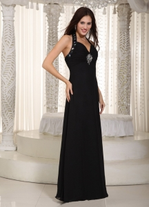 Black Column Halter Floor-length Chiffon Beading Prom Dress