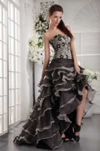 Sweetheart High-low Appliques Black and Grey Prom/Party Dress