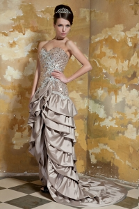 Brown Sweetheart High-low Taffeta and Sequin Beading Prom Dress