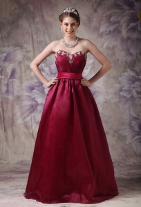 Burgundy Sweetheart Taffeta and Organza Appliques Prom Dress