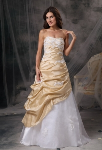 Champagne and White Sweetheart Taffeta Appliques Prom Dress