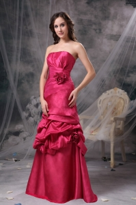 Coral Red A-line Strapless Floor-length Taffeta Beading Prom Dress