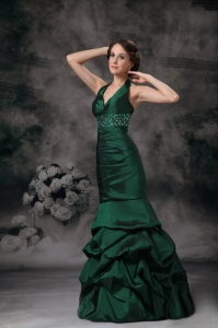 Mermaid Halter Taffeta Beading Dark Green Prom / Evening Dress
