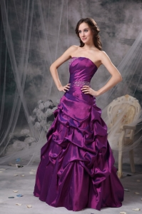 Fuchsia A-line Strapless Floor-length Taffeta Beading Prom Dress