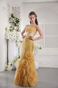 Unique Gold Lace Prom / Graduation Dress with Hand Flowers