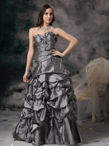 Column Sweetheart Floor-length Taffeta Beading Grey Prom Dress
