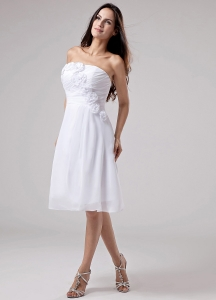Hand Made Flowers Chiffon Empire Strapless Prom Dress White