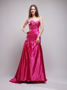 A-line Sweetheart Taffeta Beading and Ruch Hot Pink Prom Dress