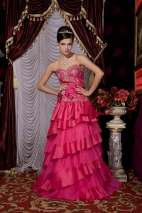 Sweetheart Taffeta and Tulle Beading Hot Pink Prom / Evening Dress