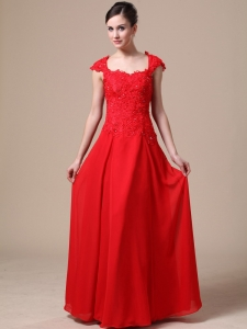 Lace Chiffon Square Red Column Prom Dress For 2013