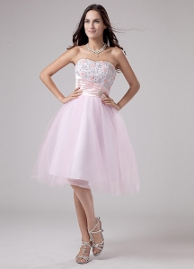 Lace and Beading Tulle Tea-length A-Line Pink Prom Dress