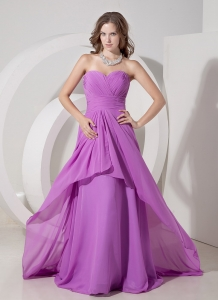 Lavender Empire Sweetheart Chiffon Ruch Prom Dress