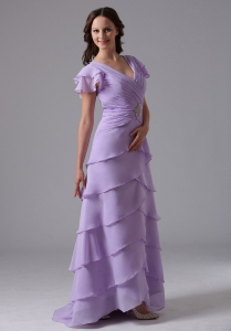 Lavender V-neck Ruffled Layeres Prom Dress Beading and Ruch