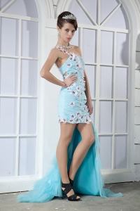 Light Blue One Shoulder High-low Beading Hand Made Flowers Prom Dress