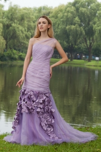 Lilac A-line One Shoulder Sweep / Brush Hand Flowers Prom Dress