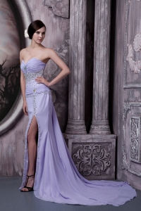 Lilac Column Sweetheart Court Train Chiffon Beading Prom Dress