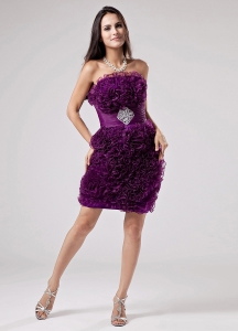 Luxurious Purple Prom Dress Ruffles Appliques With Organza