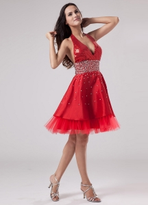 Luxurious Red Halter Prom Dress Beaded Decorate Satin and Tulle