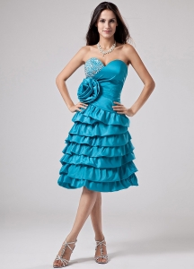 Teal Prom Dress Sweetheart Ruffled Layeres Hand Made Flower