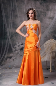 Orange Sweetheart Taffeta Appliques and Ruch Prom Dress