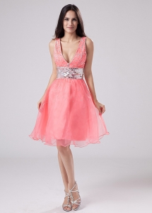 Paillette V-neck Organza Knee-length Prom Dress Watermelon