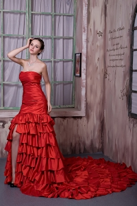 A-line Strapless Cathedral Train Ruffled Layers Red Prom Dress